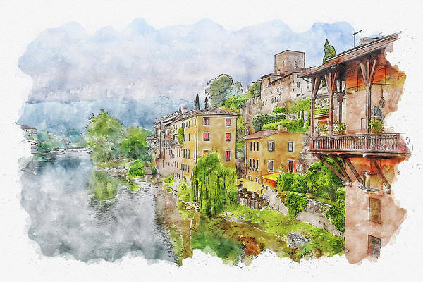 Wall Art - Photograph - House #watercolor #sketch #house #river by TintoDesigns