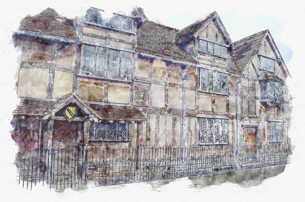 Wall Art - Digital Art - House #watercolor #sketch #house #street by TintoDesigns