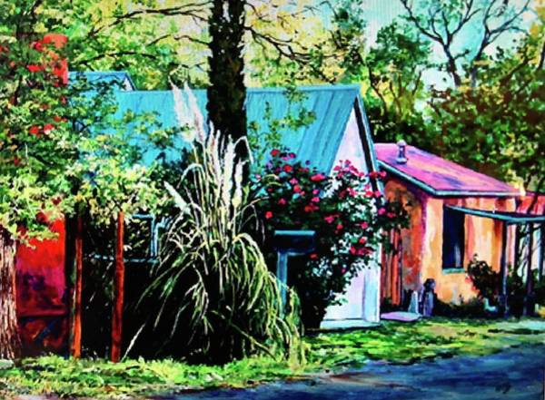 Wall Art - Painting - House With Pampas Grass by Kathy Hauge