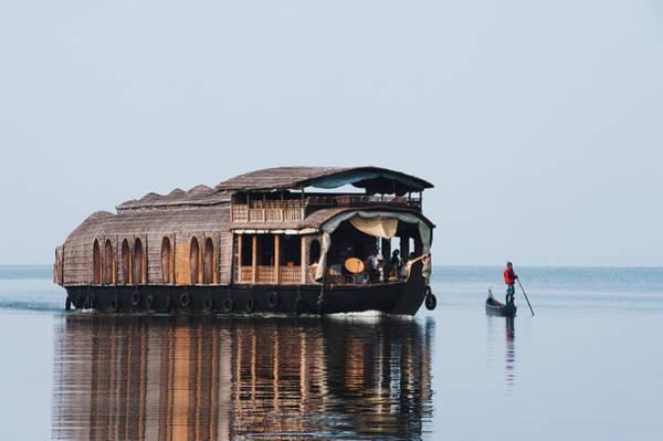 Kerala Photograph - Houseboat In A Lagoon, Kerala by Exotica.im
