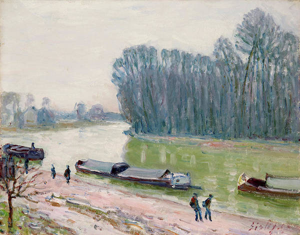 Wall Art - Painting - Houseboats On The River Loing by Alfred Sisley