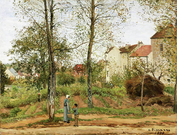 Country Living Painting - Houses At Bougival, Autumn - Digital Remastered Edition by Camille Pissarro