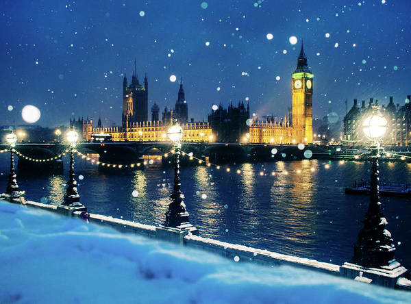 Wall Art - Photograph - Houses Of Parliament In Snow In London by Doug Armand