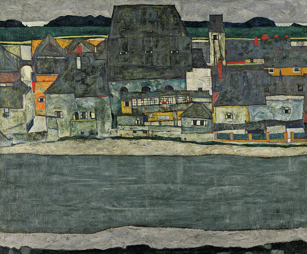 Metaphor Painting - Houses On The River - The Old Town, 1914 by Egon Schiele