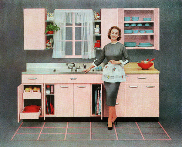 Kitsch Photograph - Housewife In Pink Kitchen by Graphicaartis
