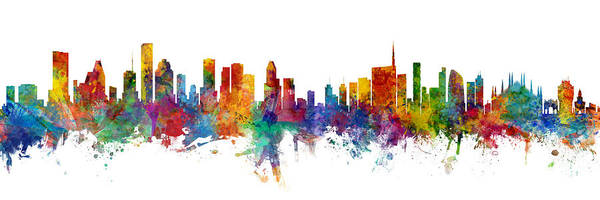 Wall Art - Digital Art - Houston And Milan Skyline Mashup by Michael Tompsett