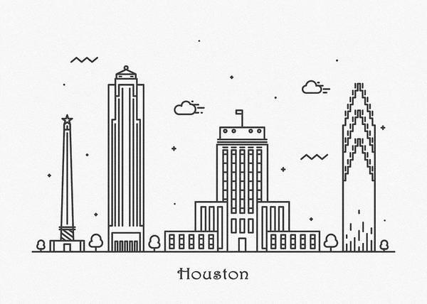 Landmark Center Drawing - Houston Cityscape Travel Poster by Inspirowl Design