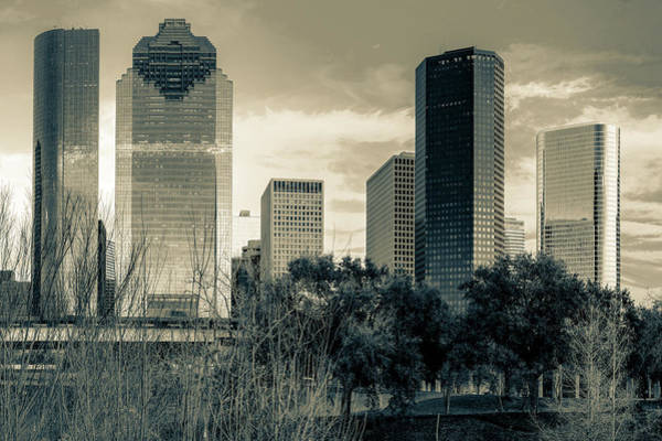 Photograph - Houston Cityscape View Along The Buffalo Bayou In Sepia by Gregory Ballos