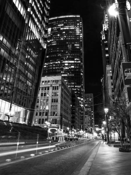 Wall Art - Photograph - Houston Lights Black And White by Dan Sproul