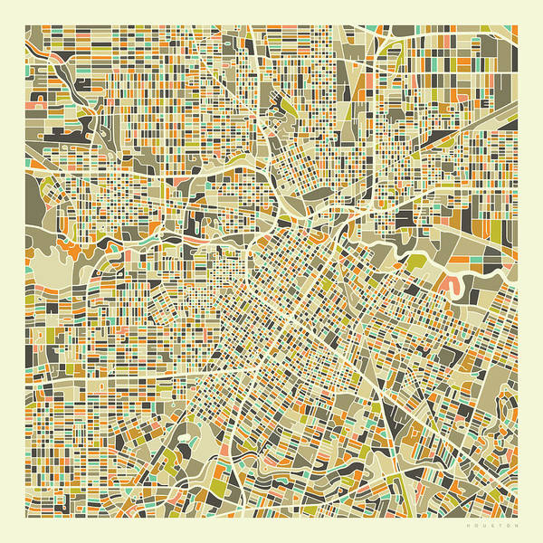 City Map Wall Art - Digital Art - Houston Map 1 by Jazzberry Blue