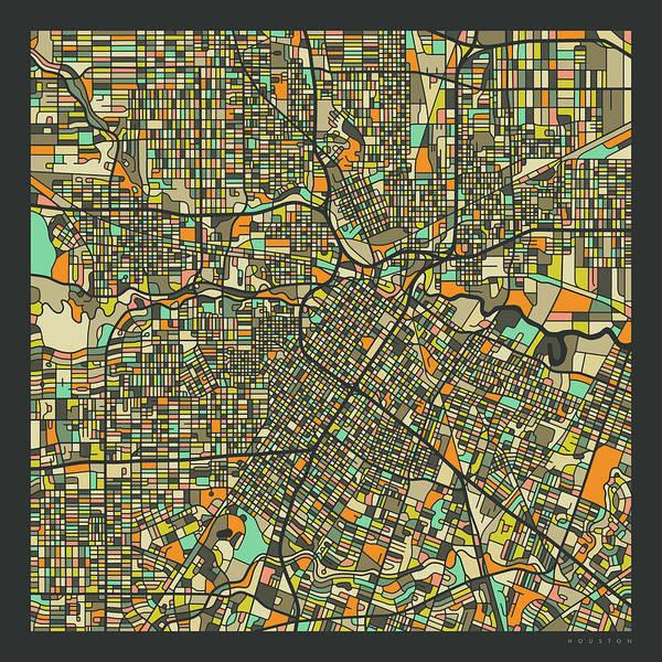 Texas Digital Art - Houston Map 2 by Jazzberry Blue