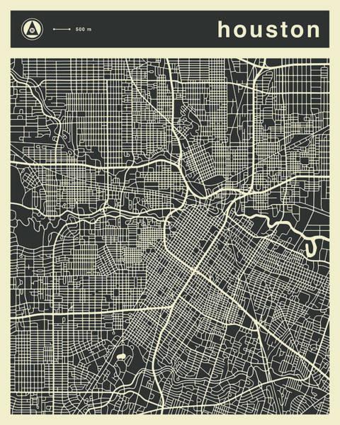 Texas Digital Art - Houston Map 3 by Jazzberry Blue