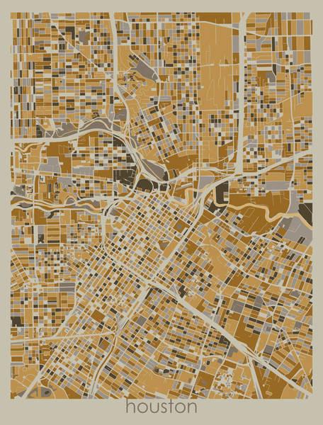 Wall Art - Digital Art - Houston Map Retro 4 by Bekim M