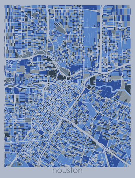 Wall Art - Digital Art - Houston Map Retro 5 by Bekim M