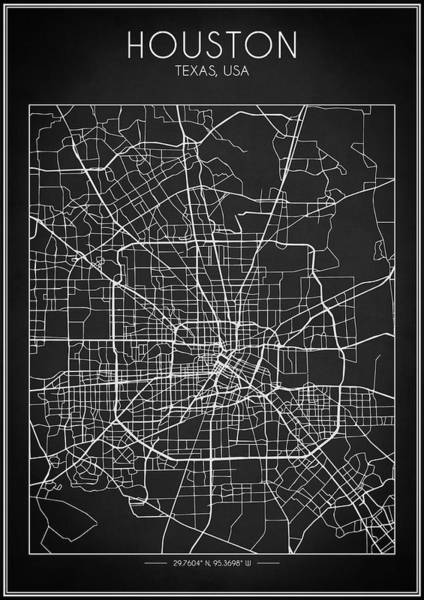 Digital Art - Houston Map by Zapista Zapista