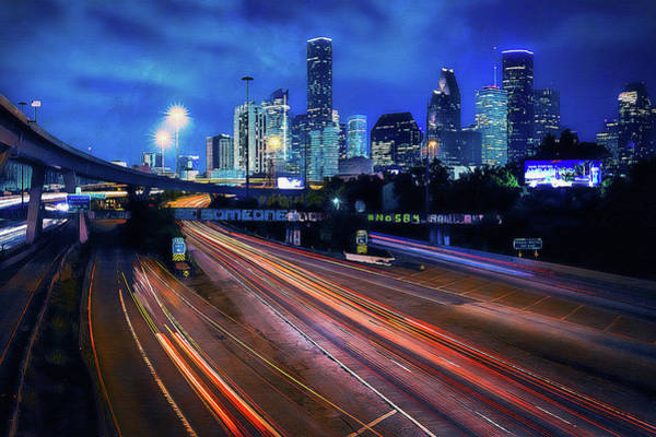 Painting - Houston Skyline - 06 by Andrea Mazzocchetti