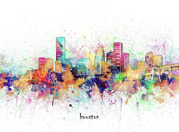 Wall Art - Digital Art - Houston Skyline Artistic by Bekim M