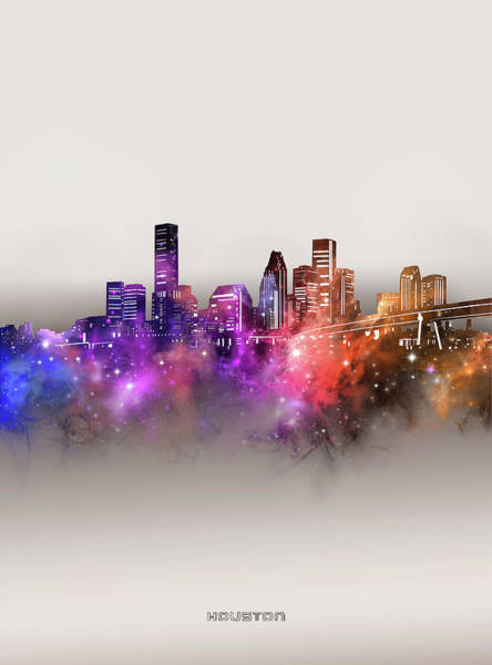 Wall Art - Digital Art - Houston Skyline Galaxy by Bekim M