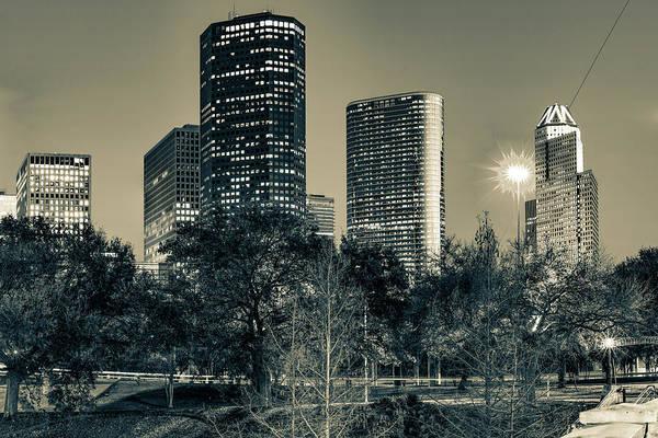 Photograph - Houston Skyscrapers Along The Buffalo Bayou - Sepia Edition by Gregory Ballos