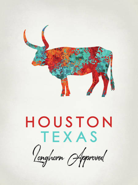 Longhorn Digital Art - Houston Texas - Colorful Longhorn by Flo Karp