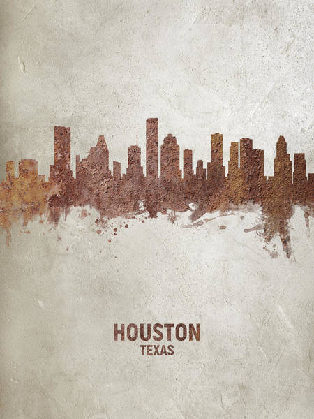 Wall Art - Digital Art - Houston Texas Rust Skyline by Michael Tompsett