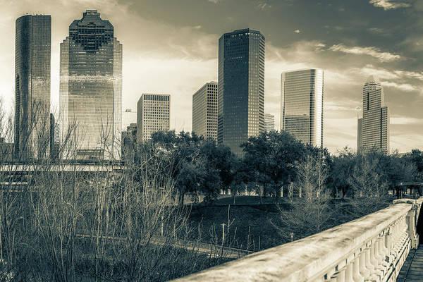 Photograph - Houston Texas Skyline And Sabine Street Bridge - Sepia by Gregory Ballos
