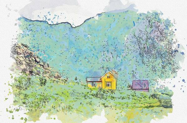 Wall Art - Painting - Hovden, Norway Watercolor By Ahmet Asar by Ahmet Asar