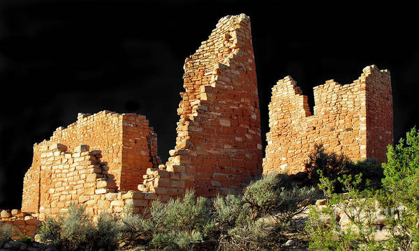Wall Art - Photograph - Hovenweep Castle Ruins Detail No. 1 On Black by Douglas Taylor