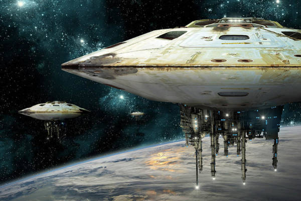 Digital Art - Hovering Motherships by Marc Ward