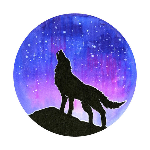 Wall Art - Painting - Howling Wolf Silhouette Galaxy by Olga Shvartsur