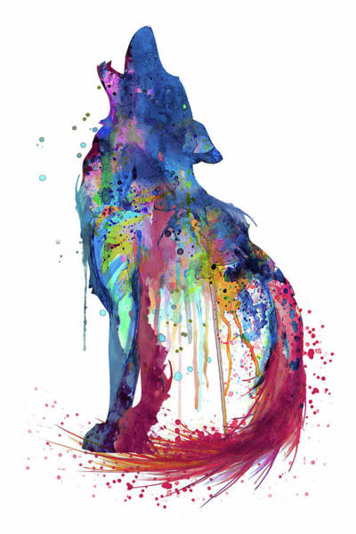 Wall Art - Painting - Howling Wolf Watercolor Silhouette by Marian Voicu
