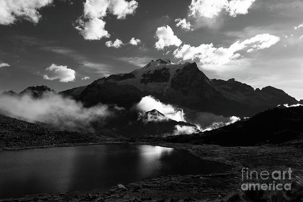 Photograph - Huayna Potosi Skyscape In Black And White Bolivia by James Brunker