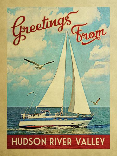 Valley Digital Art - Hudson River Valley Sailboat Vintage Travel by Flo Karp