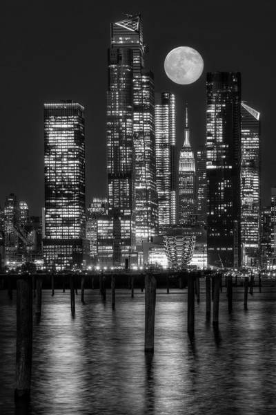 Wall Art - Photograph - Hudson Yards Nyc And Full Moon Bw by Susan Candelario
