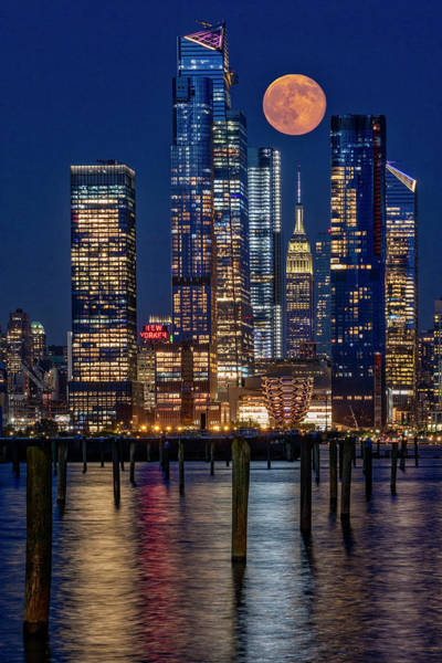 Photograph - Hudson Yards Nyc And Full Moon by Susan Candelario