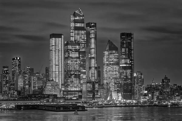 Photograph - Hudson Yards Nyc Skyline Bw by Susan Candelario