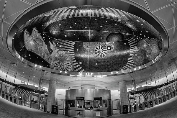Photograph - Hudson Yards Nyc Subway Booth Bw by Susan Candelario