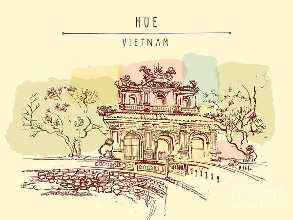 Wall Art - Digital Art - Hue, Vietnam. Imperial Citadel Gate by Babayuka