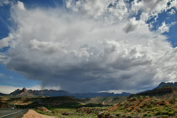 Photograph - Huge Storm Cloud Over Utah Highway 9 Near Zion Np by Ray Mathis
