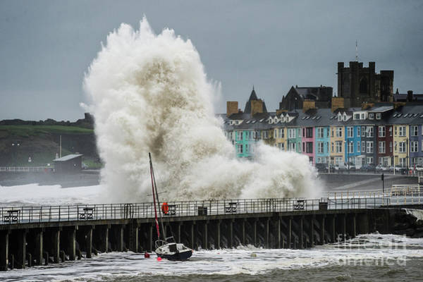 Photograph - Huge Wave Hitting Aberystwyth Seafront by Keith Morris