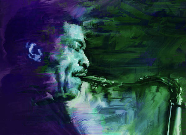 Gestural Digital Art - Hugh Masekela by Garth Glazier