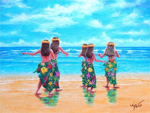 Hawaii Wall Art - Painting - Hula Dancers Hawaii by John YATO