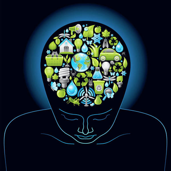 Lifestyles Digital Art - Human Head With Ecological Symbols In by O-che