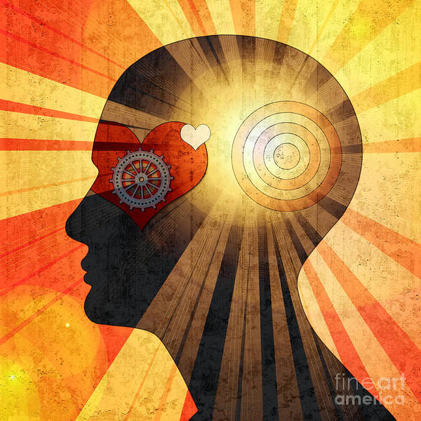 Health Wall Art - Digital Art - Human Head With Gears Heart Sun And by Patrice6000
