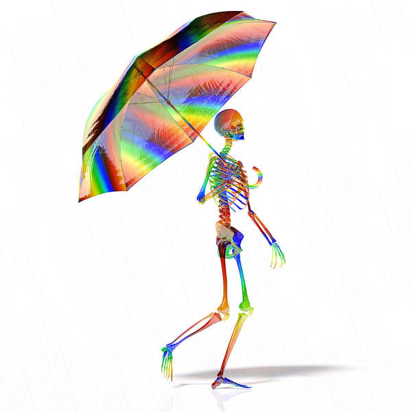 Wall Art - Digital Art - Human Skeleton With Umbrella by Betsy Knapp