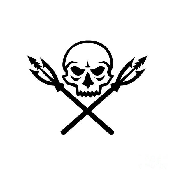 Wall Art - Digital Art - Human Skull Crossed Fishing Spear Mascot by Aloysius Patrimonio