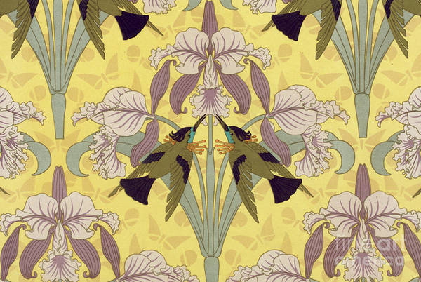 Painting - Humming Birds And Orchids by Maurice Pillard Verneuil