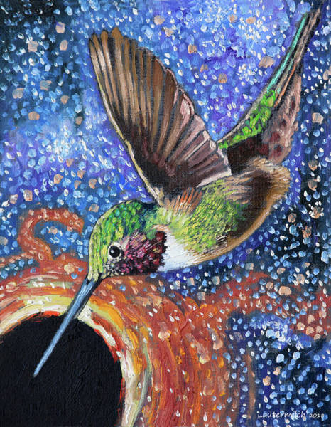 Wall Art - Painting - Hummingbird And Black Hole by John Lautermilch