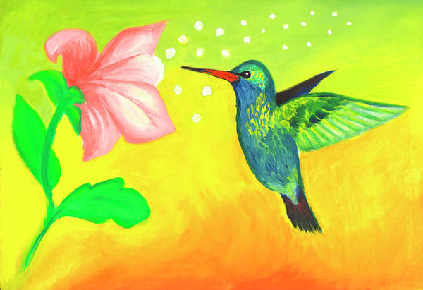 Painting - Hummingbird And Pink Flower by Irina Dobrotsvet