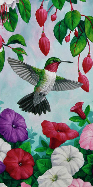 Birds And Flowers Painting - Hummingbird Flying In Spring Flower Garden 1 by Crista Forest